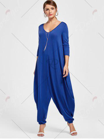 Fancy Draped V Neck Cut Out Harem Jumpsuit - M BLUE Mobile