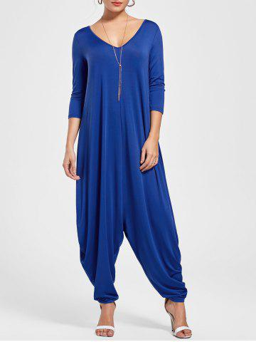 Draped V Neck Cut Out Harem Jumpsuit - Blue - 2xl