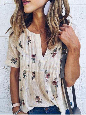 Buy V Neck Chiffon Floral T-shirt