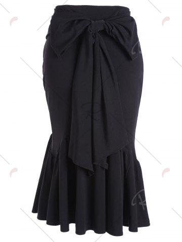 Discount Fitted Belted Midi Mermaid Skirt - M BLACK Mobile