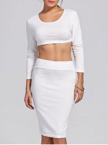 Cheap Stylish Scoop Neck Long Sleeve Solid Color Crop Top and Skirt Suit For Women WHITE S