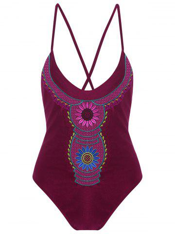 Outfit Embroidered Cross Back Plus Size Swimsuit - 4XL WINE RED Mobile