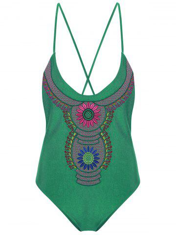 Chic Embroidered Cross Back Plus Size Swimsuit - 4XL GREEN Mobile