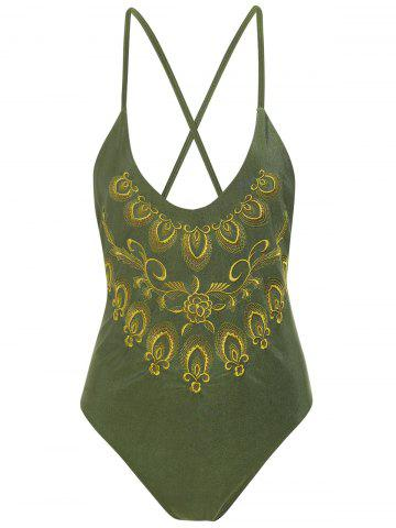 Hot Plus Size Embroidered Cross Back Swimsuit - 4XL HAMPTON GREEN Mobile