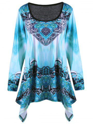 Online Plus Size Ombre Tribal Print Asymmetric T-shirt