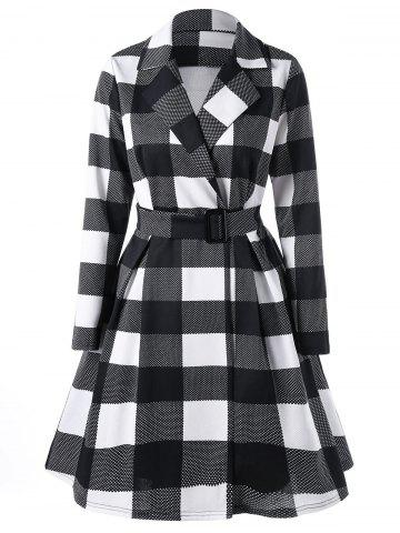 Latest Plaid Notched Collar Skirt Coat