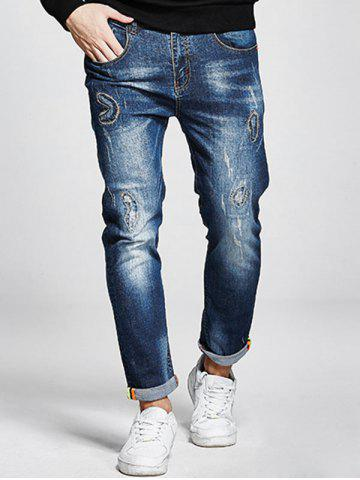 Discount Plus Size Stitching Zip Fly Jeans