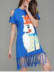 Cartoon King Cold Shoulder Tassel T-shirt Dress