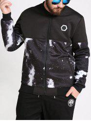 Plus Size Galaxy Printed Bomber Jacket -