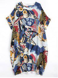 Plus Size Linen Funny Printed Dress with Pockets