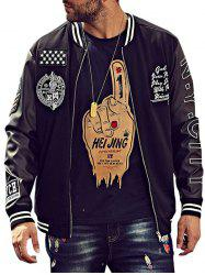 Embroidery Patch PU Panel Bomber Jacket