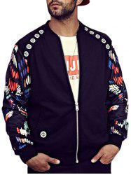 Zip Up Tiger Printed Bomber Jacket - BLACK 4XL
