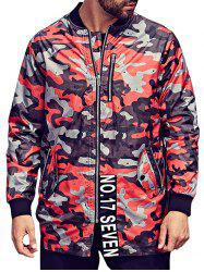 Plus Size Camo Jacket with Zip Pocket