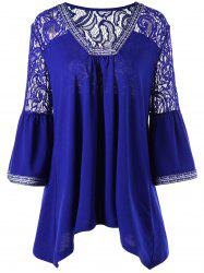 Lace Trim Plus Size Asymmetric Blouse