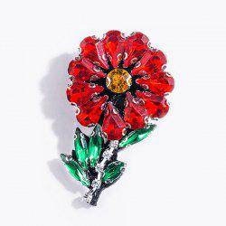 Faux Crystal Rhinestone Flower Brooch - RED