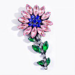 Sparkly Faux Crystal Flower Brooch - PINK