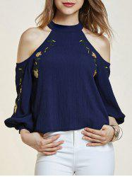Cold Shoulder Lantern Sleeve Flower Embroidered Blouse