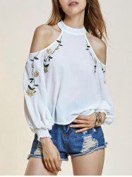 Cold Shoulder Lantern Sleeve Flower Embroideried Blouse