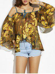 Cold Shoulder Flare Sleeve Chiffon Flower Blouse