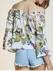 Off The Shoulder Flare Sleeve Flower Blouse