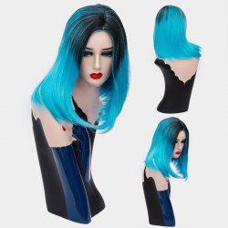 Short Middle Parting Ombre Silky Straight Synthetic Wig