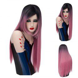 Long Colormix Side Part Silky Straight Synthetic Wig