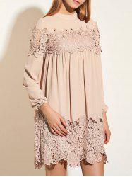 Lace Trim Cuff Sleeve Tunic Dress
