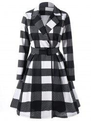 Notched Collar Long Sleeve Plaid Shirt Dress