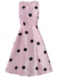 Polka Dot Print Sleeveless Cocktail Pin Up Dress