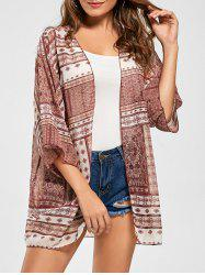 Tribal Print Chiffon Kimono Cover Up - RED