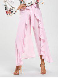Tie Front High Slit Frill Palazzo Pants