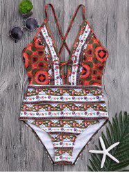 Plunge Floral One Piece Criss Cross Swimsuit - COLORMIX