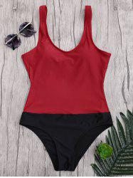 Backless Two Tone Sports Swimsuit