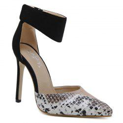Point Toe Snake Printed High Heel Pumps - APRICOT 37
