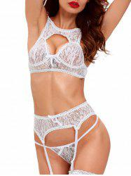 Cropped Lace Bra Set with Garter Skirt