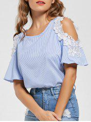 Stripe Applique Cold Shoulder Top - BLUE