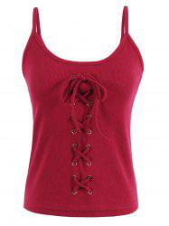 Criss Cross Lace Up Ribbed Tank Top - Rouge TAILLE MOYENNE