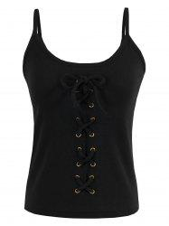 Criss Cross Lace Up Ribbed Tank Top - Noir TAILLE MOYENNE