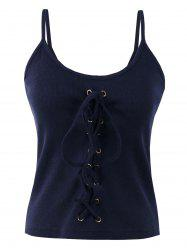 Criss Cross Lace Up Ribbed Tank Top - PURPLISH BLUE ONE SIZE