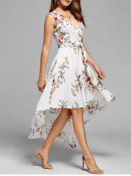 Floral High Low Dress - WHITE