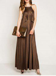 Spaghetti Strap Metal Pleated Maxi Popover Dress