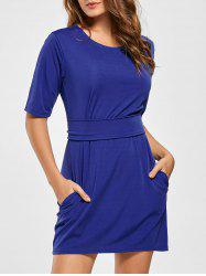 Belted Mini Fitted Dress - BLUE S