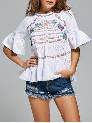 Bell Sleeve Embroidered Peplum Blouse