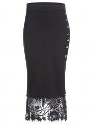 Slit Lace Insert Button Pencil Jupe - Noir M