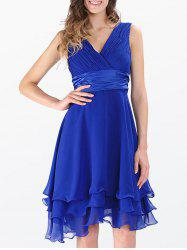 Empire Waist Sleeveless Layered Surplice Chiffon Dress - ROYAL