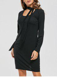 Tied Fitted Long Sleeve Dress