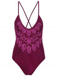 Plus Size Embroidered Cross Back Swimsuit