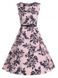 Print A Line Sleeveless Vintage Party Dress