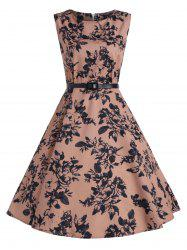 Print A Line Vintage Flare Cocktail Dress -