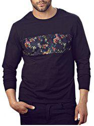 Floral Mesh Insert Plus Size Tee - BLACK 3XL
